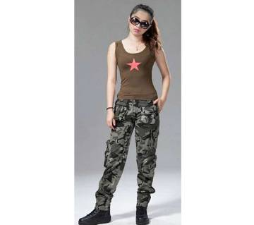 Army Printed Twill Cargo Pant For Women