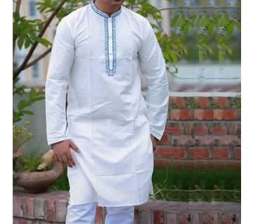White Cotton Punjabi For Men