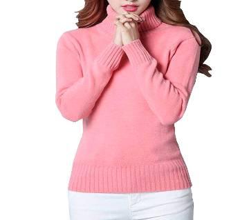 Ladies Full Sleeve High Neck Cotton Sweater