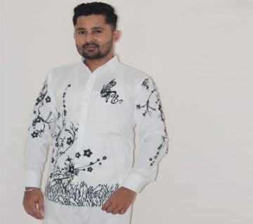 White Printed Casual Shirt For Men