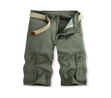 Olive Cotton Shorts For Men