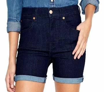Deep Blue Denim Shorts For Women