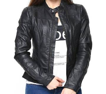Black Artificial Leather Jacket For Women
