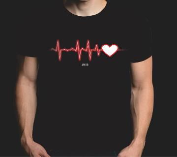 Heart Beat Gents Half Sleeve Cotton T-shirt