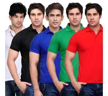 Gents 5Combo Half Sleeve Cotton Polo Shirt