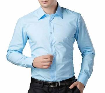 Sky Blue Cotton Full Sleeve Shirt for Men
