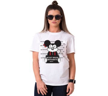 MICKY MOUSE BUSTED Ladies Half Sleeve Cotton T-Shirt