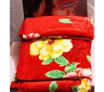 Red Flower printed  winter Blanket
