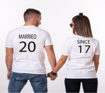 Married 20 17 Half Sleeve Cotton Couple T-Shirt