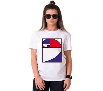Square Decorate Ladies Half Sleeve Cotton T-Shirt
