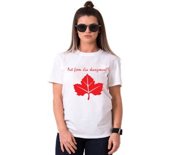 Canada Flag Ladies Half Sleeve Cotton T-Shirt