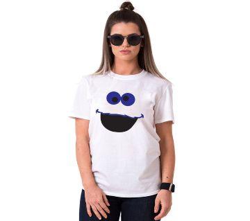Cartoon Ladies Half Sleeve Cotton T-Shirt