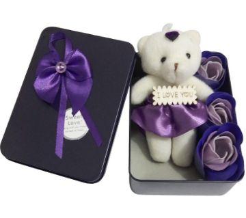 I Love you Panda Doll-purple গিফট বক্স