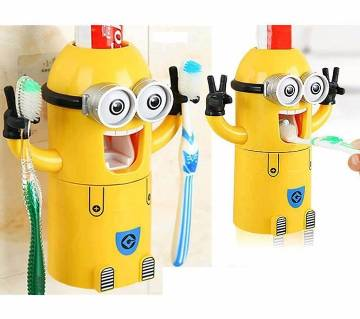 Minion toothpaste dispenser with holder