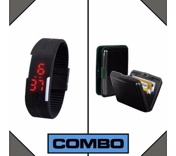 Card holder + LED watch combo