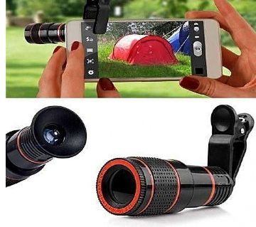 Digital 8X Zoom Telescope Camera + Adjustable Holder Mobile Phone Lens (Telephoto) for Tik Tok Universal - Black