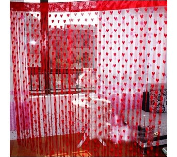 HANDLOOMHUB Red Heart Net Curtain (2pc)