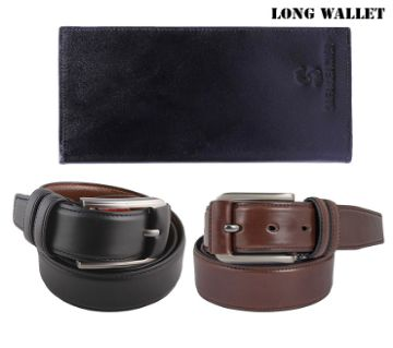 Artificial Leather Belt (2 Pieces) + Wallet Combo Pack For Man