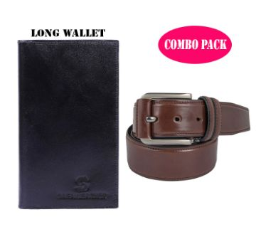 Artificial Leather Belt + Wallet Combo Pack For Man