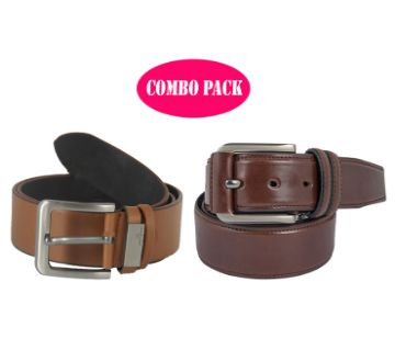 Artificial Leather Belt 2 pieces Combo Pack For Man
