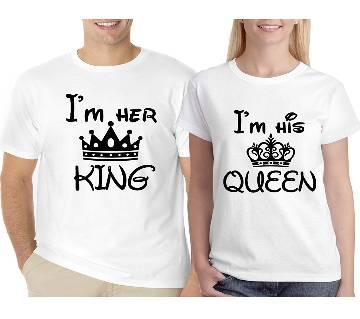 King Queen ভ্যালেন্টাইন রাউন্ড নেক কাপল টি-শার্ট