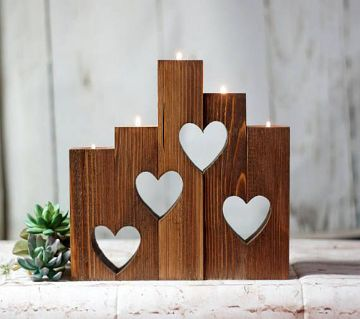 Love shaped wooden Candle Holder (Candle Free)
