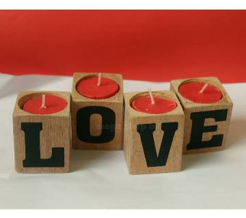 ভ্যালেন্টাইনডের কাঠের তৈরী লাইট ক্যান্ডেল - LOVE
