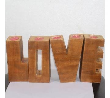valentine wood Light Candle LOVE