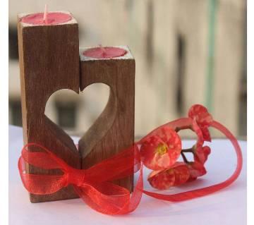 valentine wood Light Candle 5/6