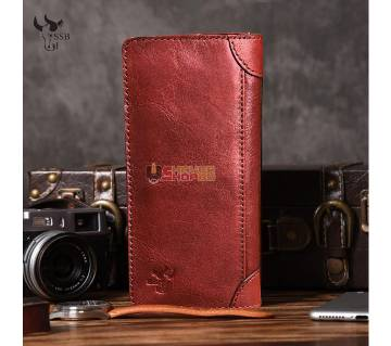 SSB GENUINE LEATHER LONG LEATHER WALLET BIFOLD WALLET BAG SB-W01