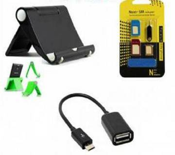 Tablet/Phone Holder + Mobile Sim Tray+ OTG Cable