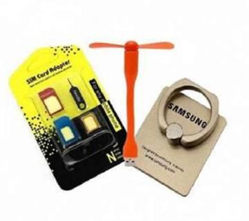 USB Fan + Mobile Ring Stand + SIM Adapter কম্বো অফ