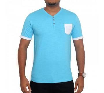 Blue T-shirt White pocket কটন টি-শার্ট