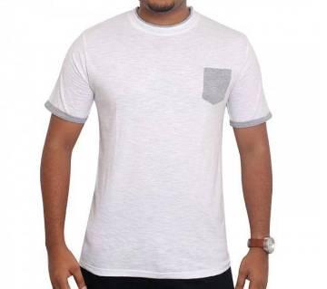 White T-shirt Ash pocket কটন টি-শার্ট
