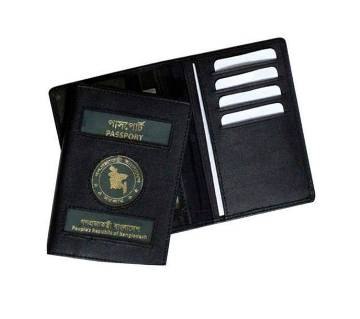 Black Leather Passport Cover Holder