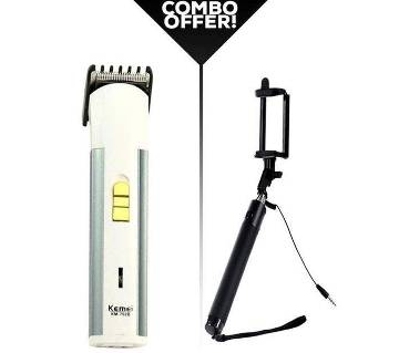 Combo Pack Kemei KM-702B Rechargeable Trimmer & selfie stick