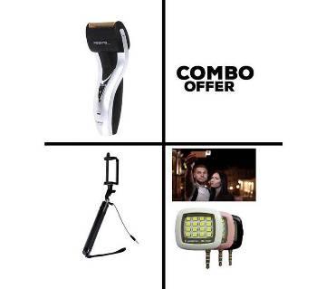 Combo Kemei KM-1720 Trimmer+Selfie Stick+ LED Light