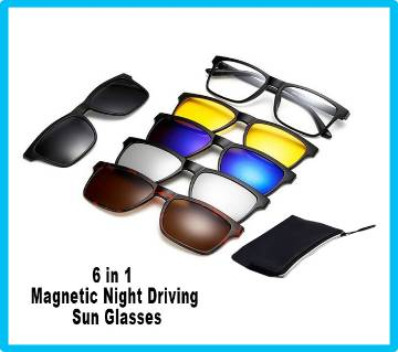 6 in 1 Magnetic Night Driving  Sun Glasses