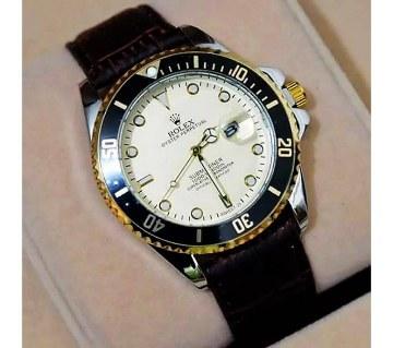 Rolex Bazel with Black Leather Strap Wristwatch (Copy)