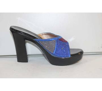 Blue Artificial Leather Heeled Sandal for Women