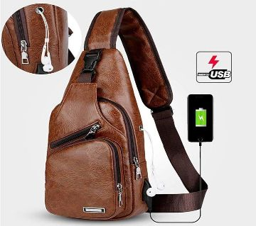 Artificial Leather Backpack with USB Cable