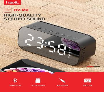 HAVIT MX701 Bluetooth Speaker Alarm Clock Wireless LED Display With FM Radio Support Aux TF USB Music Player