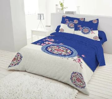King Size Bed Sheet set with two Pillow Cover -blue and white