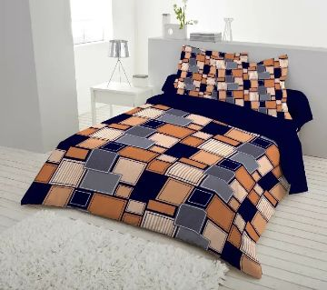 King Size Bed Sheet set with two Pillow Cover -brown and blue