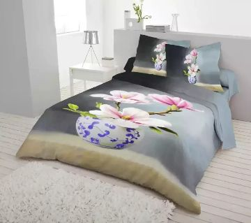 King Size Bed Sheet set with two Pillow Cover-Light black