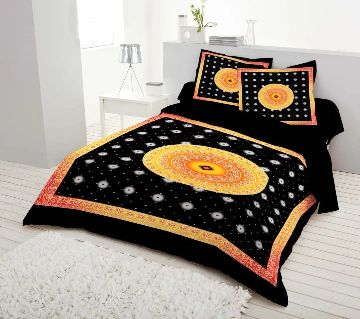 King Size Bed Sheet set with two Pillow Cover -black