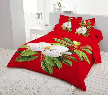 King Size Bed Sheet set with two Pillow Cover -red
