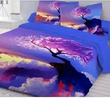 King Size Bed Sheet set with two Pillow Cover -blue