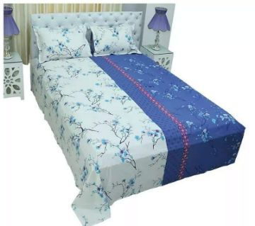 cotton bedsheet set.-white and blue