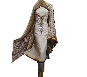 Multicolor Indian Cotton Unstitched Salwar Kameez for Women